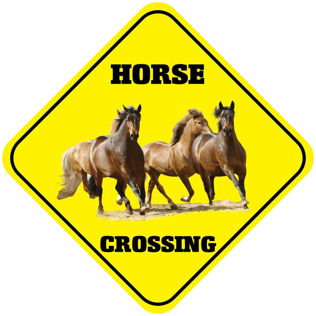 Horse Crossing Funny Metal Aluminum Novelty Sign Ebay